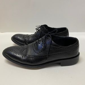 Behpooshan Black Leather Loafer Dress Shoes